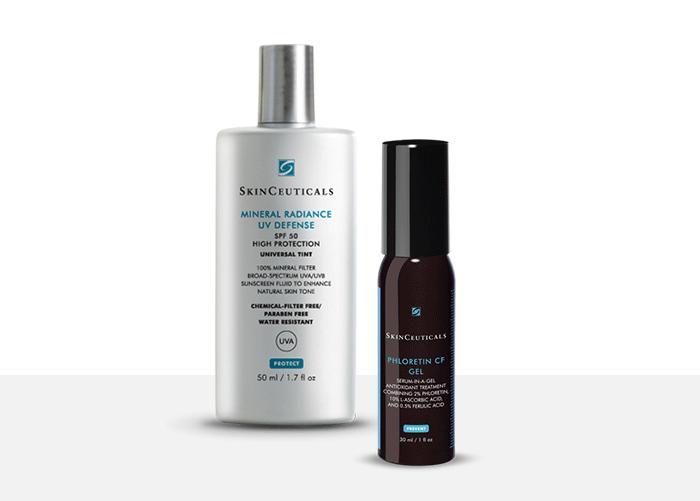 Mineral Radiance UV Defense SPF50 + SkinCeuticals Phloretin CF